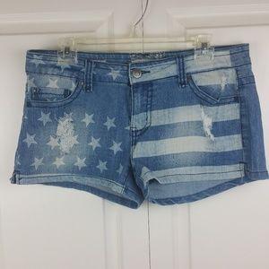 Hot Kiss Distress Denim Stars Stripes Cici Shorts